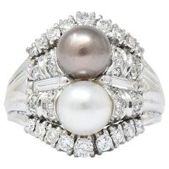 Koch 1950er Jahre 1,10 Karat Diamant Zuchtperle 18 Karat Weißgold-Ring