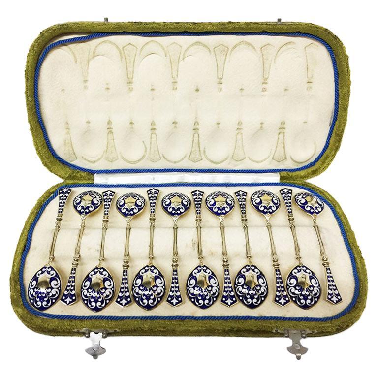 Koch & Bergfeld German Silver Teaspoons with Gold Plate and Enamel, 1884-1893