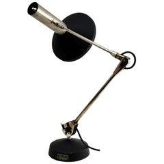 Koch & Lowy, Omi Desk Lamp Chrome and Black Metal Adjustable, USA, 1965s