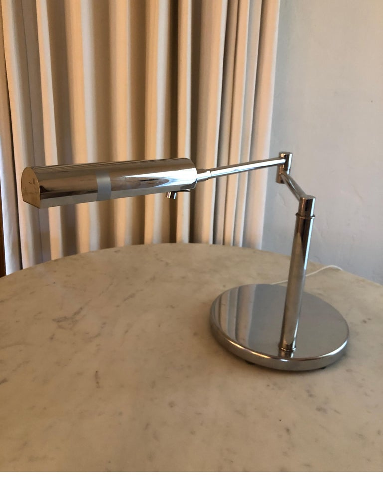 American Koch & Lowy Polished Chrome Articulating Desk Light For Sale