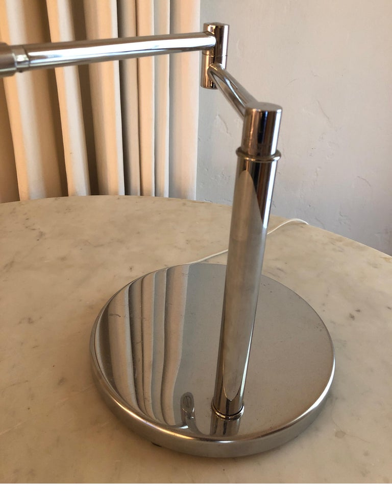 20th Century Koch & Lowy Polished Chrome Articulating Desk Light For Sale