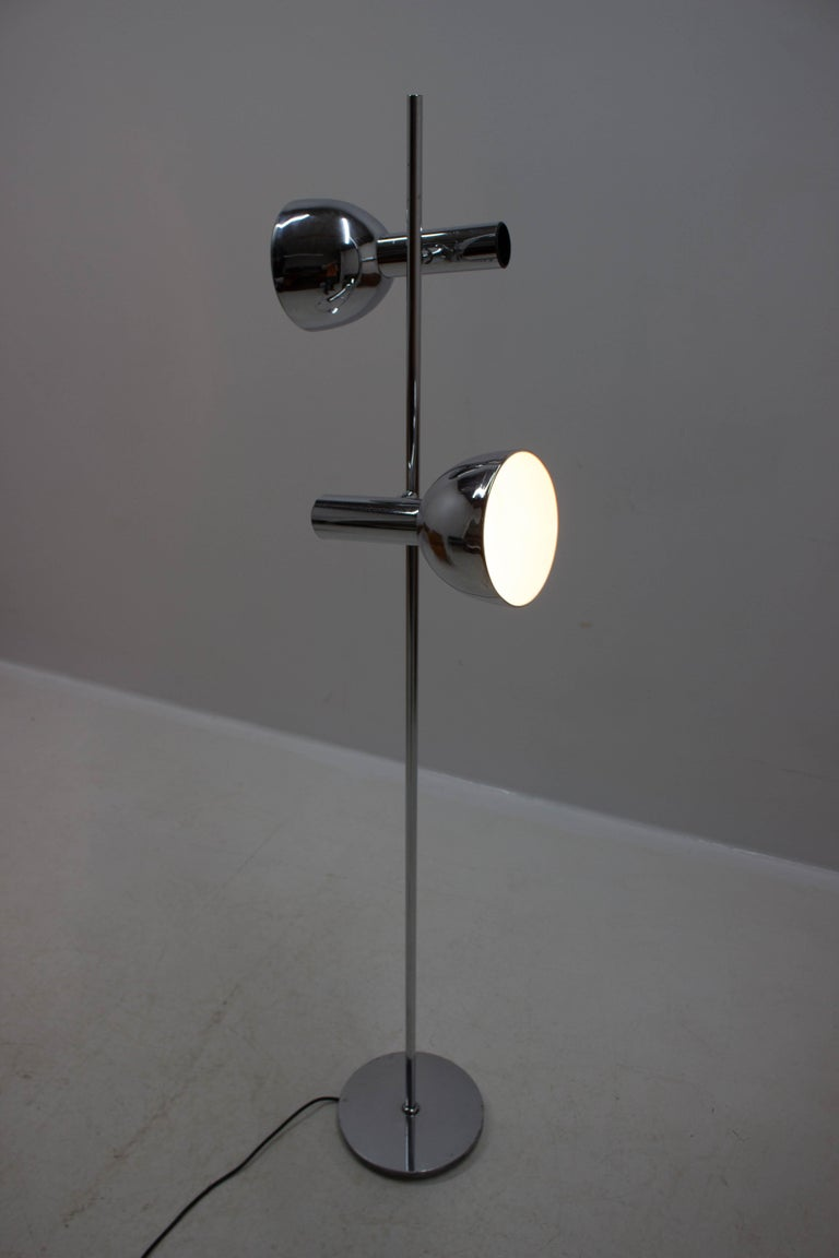 Koch & Lowy Style Floor Lamp with Two Shades, Germany, 1970s For Sale 9