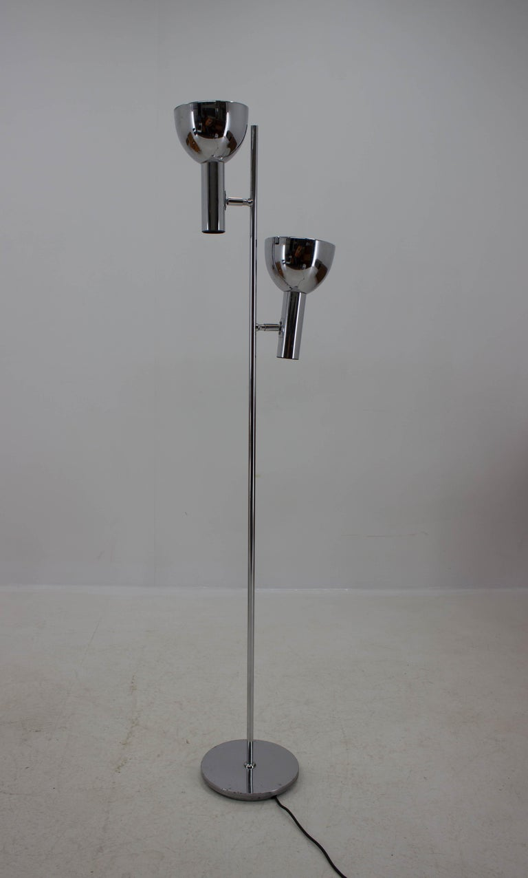 Koch & Lowy Style Floor Lamp with Two Shades, Germany, 1970s In Good Condition For Sale In Praha, CZ