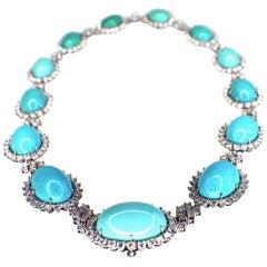 Koch Platinum Turquoise and Diamond Necklace