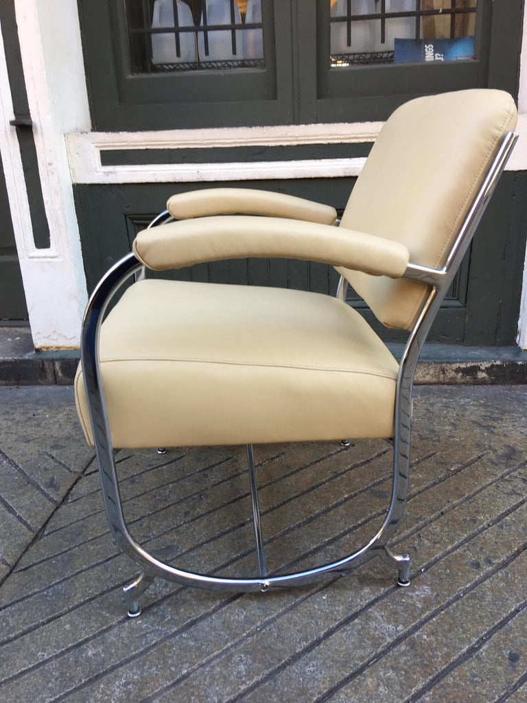 Kochs furniture/ barber shop chairs designed an entire line of barber shop seating. This newly re-chromed and re-upholstered chair is in beautiful condition! Seldom seen chair! An ottoman is available as well. Chrome banding is rectangular in shape