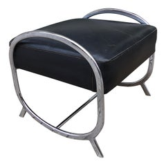 Kochs Furniture Chrome and Leather Ottoman