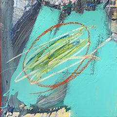 Untitled Aqua 1  - Textural Abstract Minimalist Artwork on Canvas