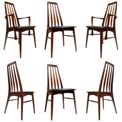 Koefoeds Hornslet Eva Teak Danish Dining Chairs Set by Niels Koefoed