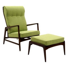 Kofod Larsen Adjustable Back Lounge Chair with Ottoman New Lime Green Upholstery