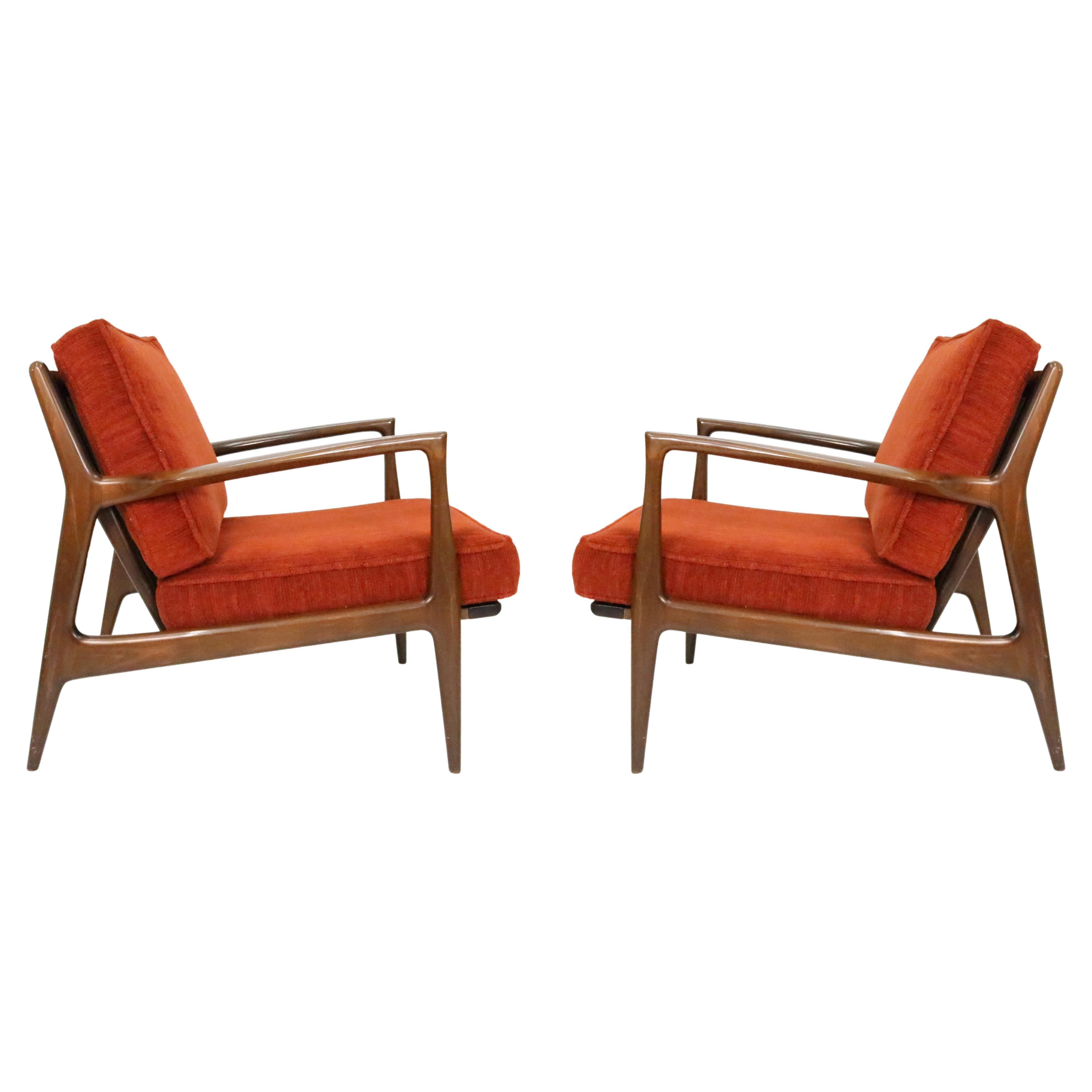 Kofod-Larsen Danish Modern Sculpted Lounge Chairs for Selig