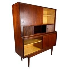 Kofod Larsen Danish Modern Teak Tambour Door Cabinet / Server / Desk