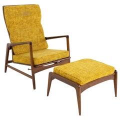 Kofod Larsen for Selig Mid Century High Back Lounge Chair and Ottoman
