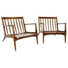 Kofod Larsen for Selig Mid Century Danish Lounge Chairs, Pair