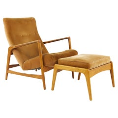 Kofod Larsen Mid Century Highback Lounge Chair and Ottoman