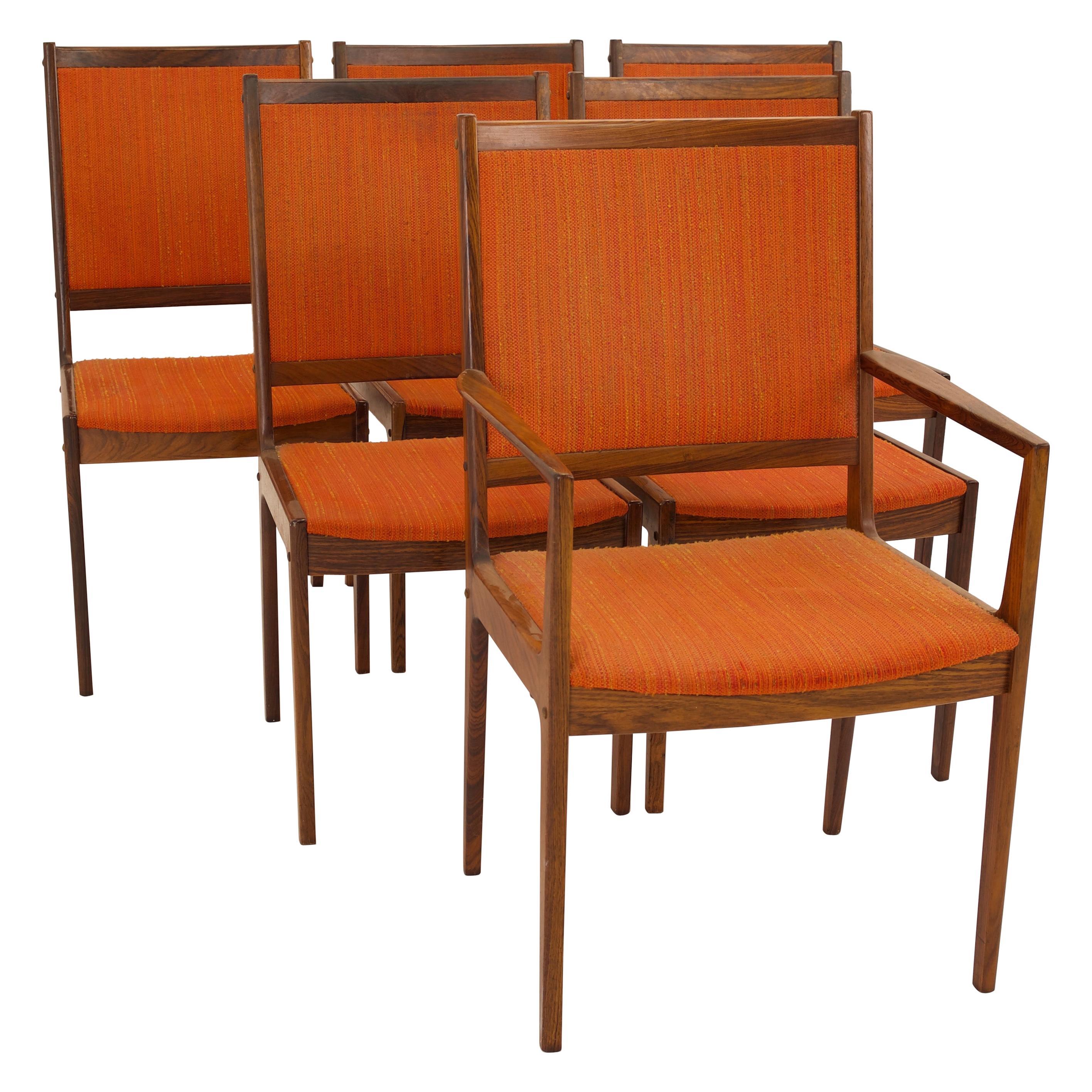 Kofod Larsen Mid Century Rosewood Highback Dining Chairs, Set of 6