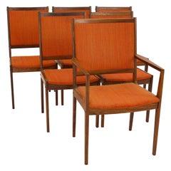 Kofod Larsen Midcentury Rosewood Highback Dining Chairs, Set of 6