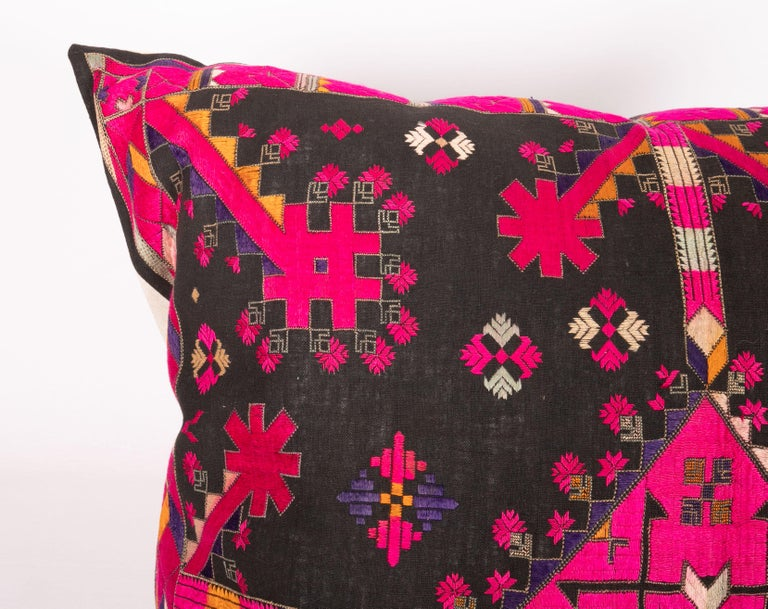 Pakistani Kohistan Silk Embroidery Pillow Case, Early 20th Century For Sale