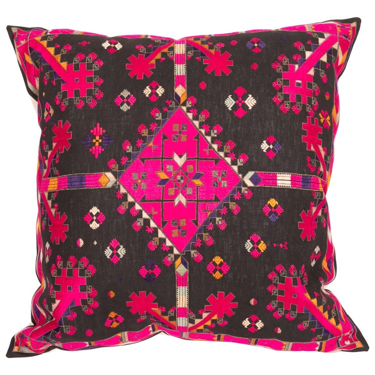 Kohistan Silk Embroidery Pillow Case, Early 20th Century For Sale