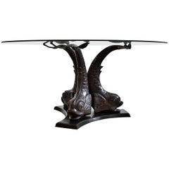 Koi Fish Brass Hollywood Regency Coffee Table