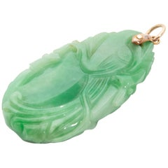 Koi Fish Naturel Green Jadeite Jade Carved Gold Bail Necklace Pendant