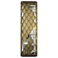 Koi Tall Storage with Walnut Root and Aged Brass Door