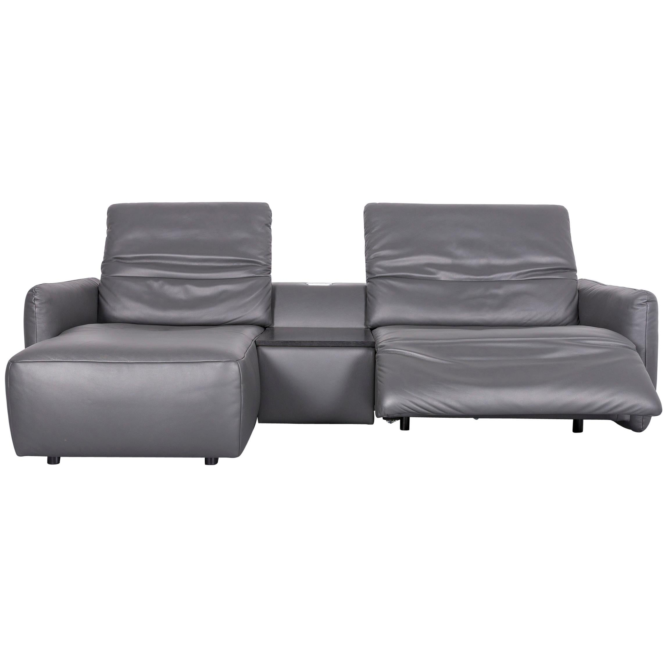 Koinor Alexa Leather Sofa Grey Two Seat Couch Recliner