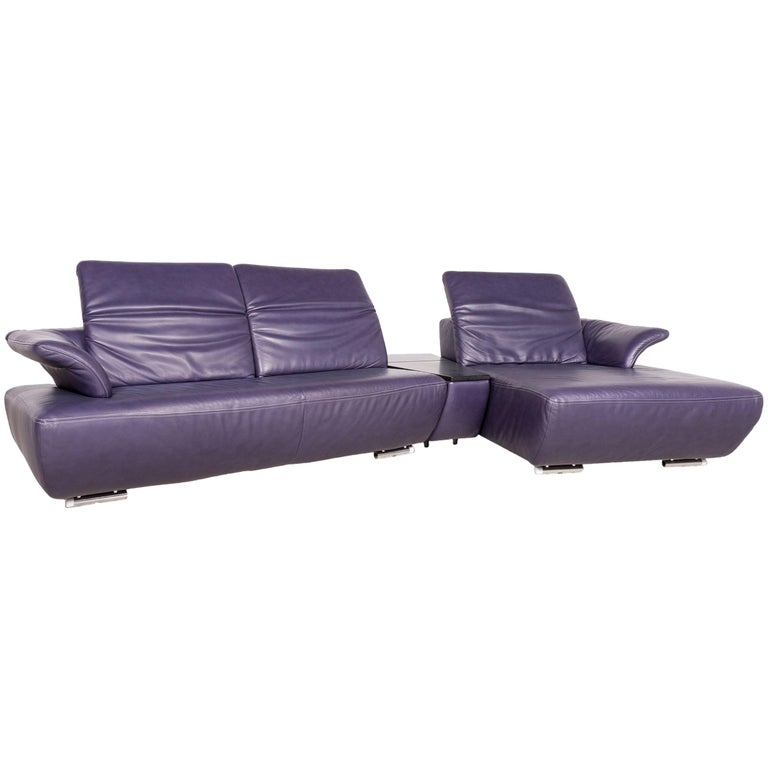 Koinor Avanti Designer Leather Corner Sofa Purple Genuine Leather Sofa Couch