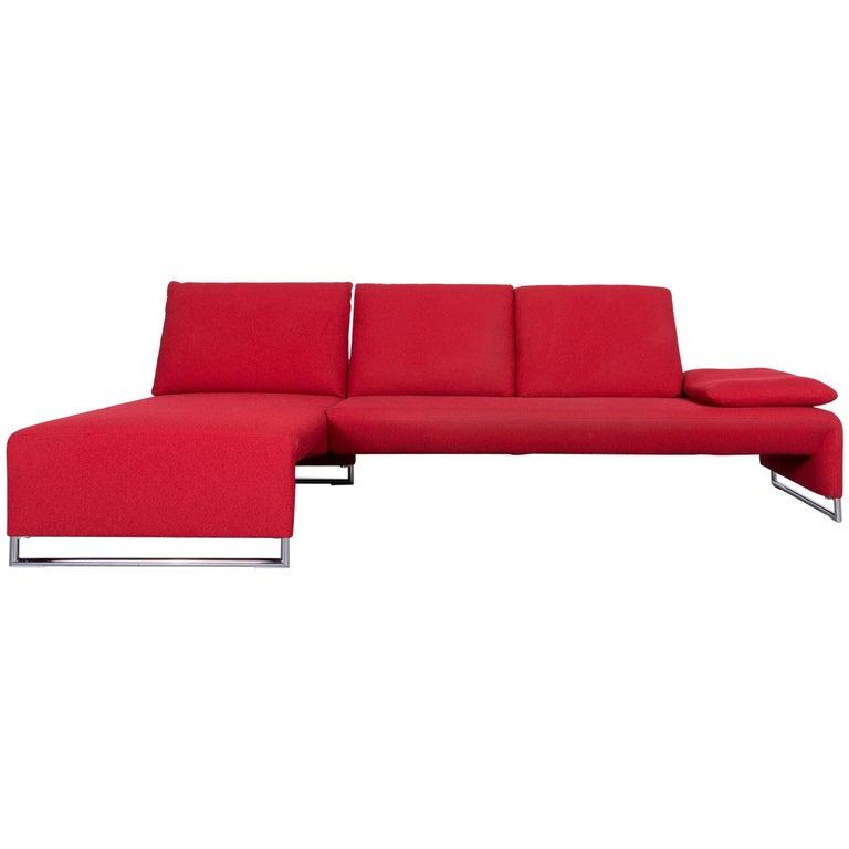Koinor Designer Fabric Sofa in Red Corner, Sofa Couch