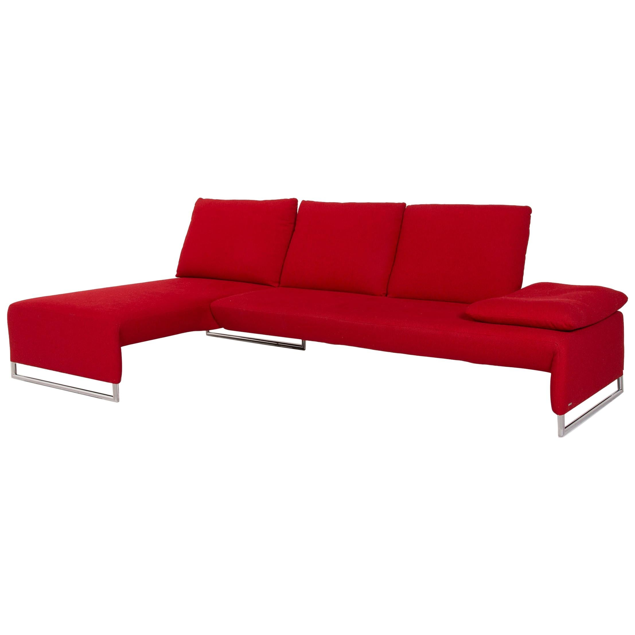 Koinor Designer Fabric Sofa Red Corner Sofa Couch