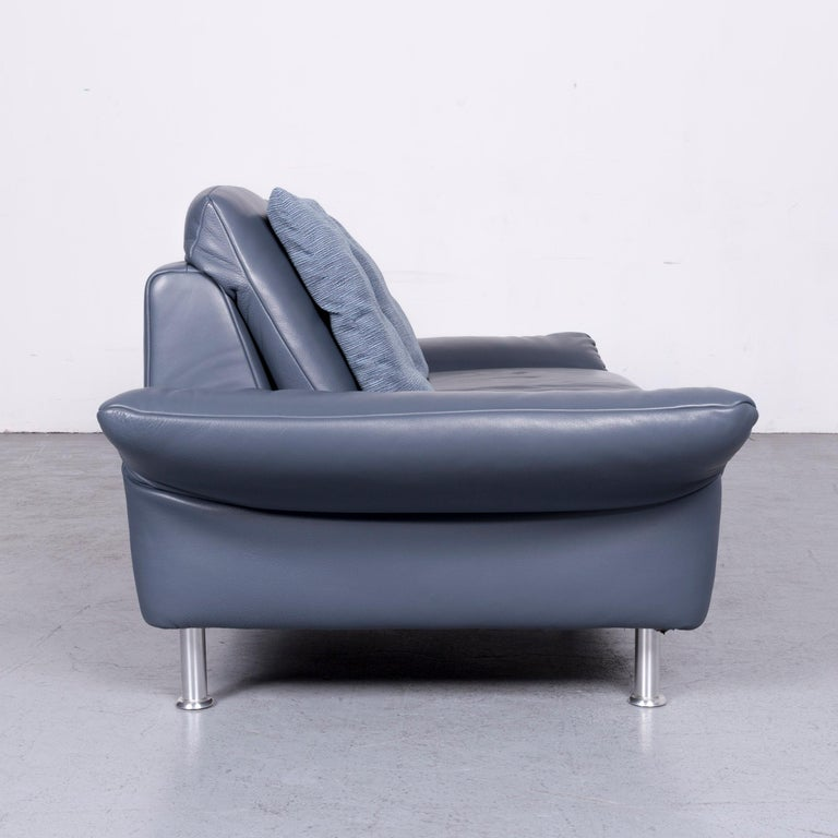 Koinor Designer Two Seat Sofa Blue Leather Couch At 1stdibs