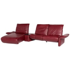 Koinor Elena Leather Corner Sofa Red Sofa Function Relaxation Couch