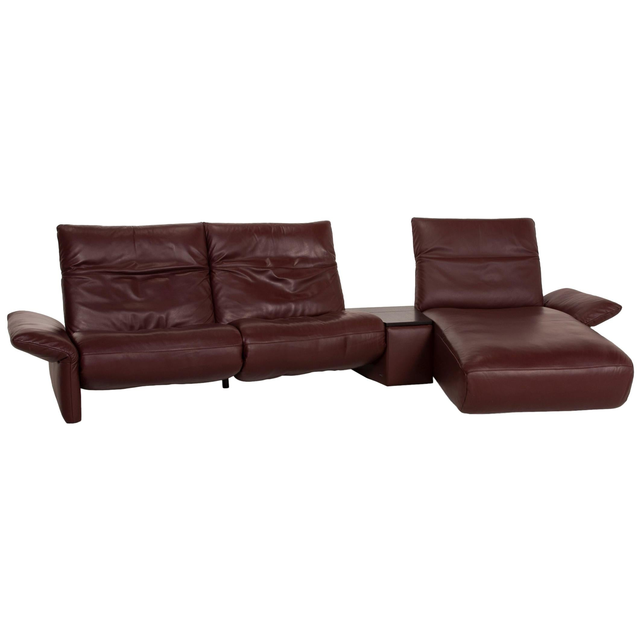 Koinor Elena Leather Sofa Brown Corner Sofa Red Dark Brown Function