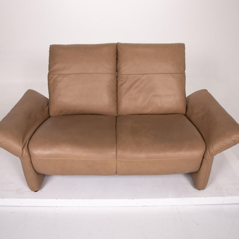 Koinor Elena Leather Sofa Brown Two-Seat Function Couch For Sale 4