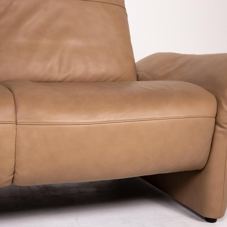 German Koinor Elena Leather Sofa Brown Two-Seat Function Couch For Sale