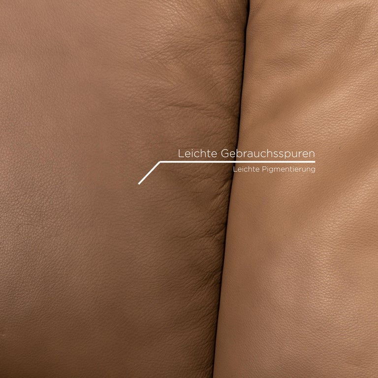 Koinor Elena Leather Sofa Brown Two-Seat Function Couch In Good Condition For Sale In Cologne, DE