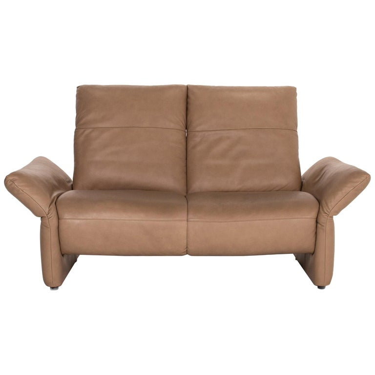 Koinor Elena Leather Sofa Brown Two-Seat Function Couch For Sale