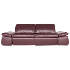 Koinor Evento Designer Leather Sofa Red Wine Red Real Leather Three-Seat Couch