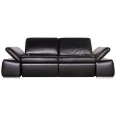 Koinor Evento Designer Sofa Black Three-Seat Leather Couch Electric Function