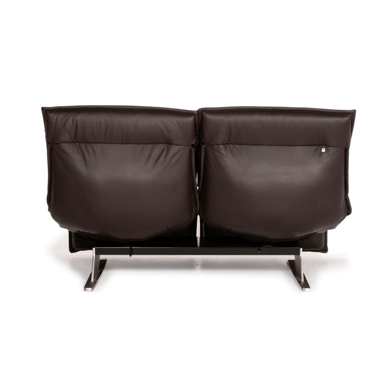 Koinor Evia Leather Sofa Brown Dark Brown Two-Seater Relax Function Function For Sale 5