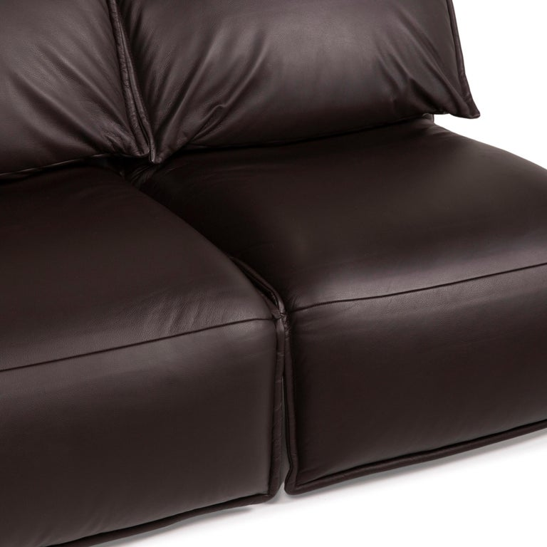 German Koinor Evia Leather Sofa Brown Dark Brown Two-Seater Relax Function Function For Sale
