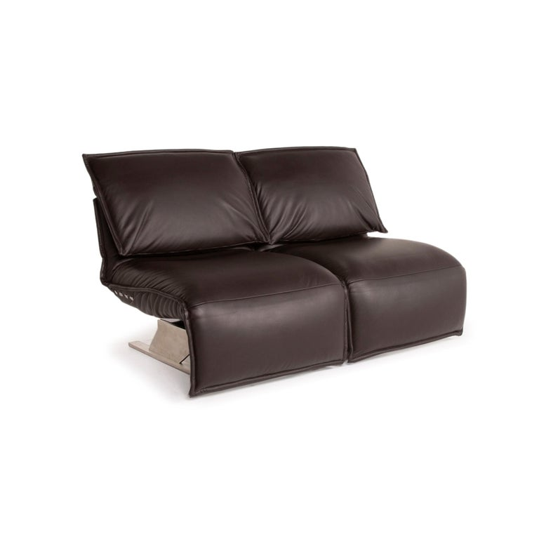 Koinor Evia Leather Sofa Brown Dark Brown Two-Seater Relax Function Function For Sale 2