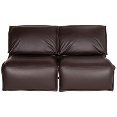 Koinor Evia Leather Sofa Brown Dark Brown Two-Seater Relax Function Function