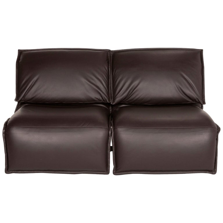 Koinor Evia Leather Sofa Brown Dark Brown Two-Seater Relax Function Function For Sale