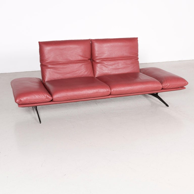 Koinor Francis Designer Leather Sofa Red Three-Seat Couch at 1stdibs