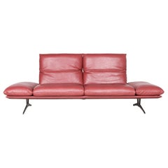 Koinor Francis Designer Leather Sofa Red Three-Seat Couch
