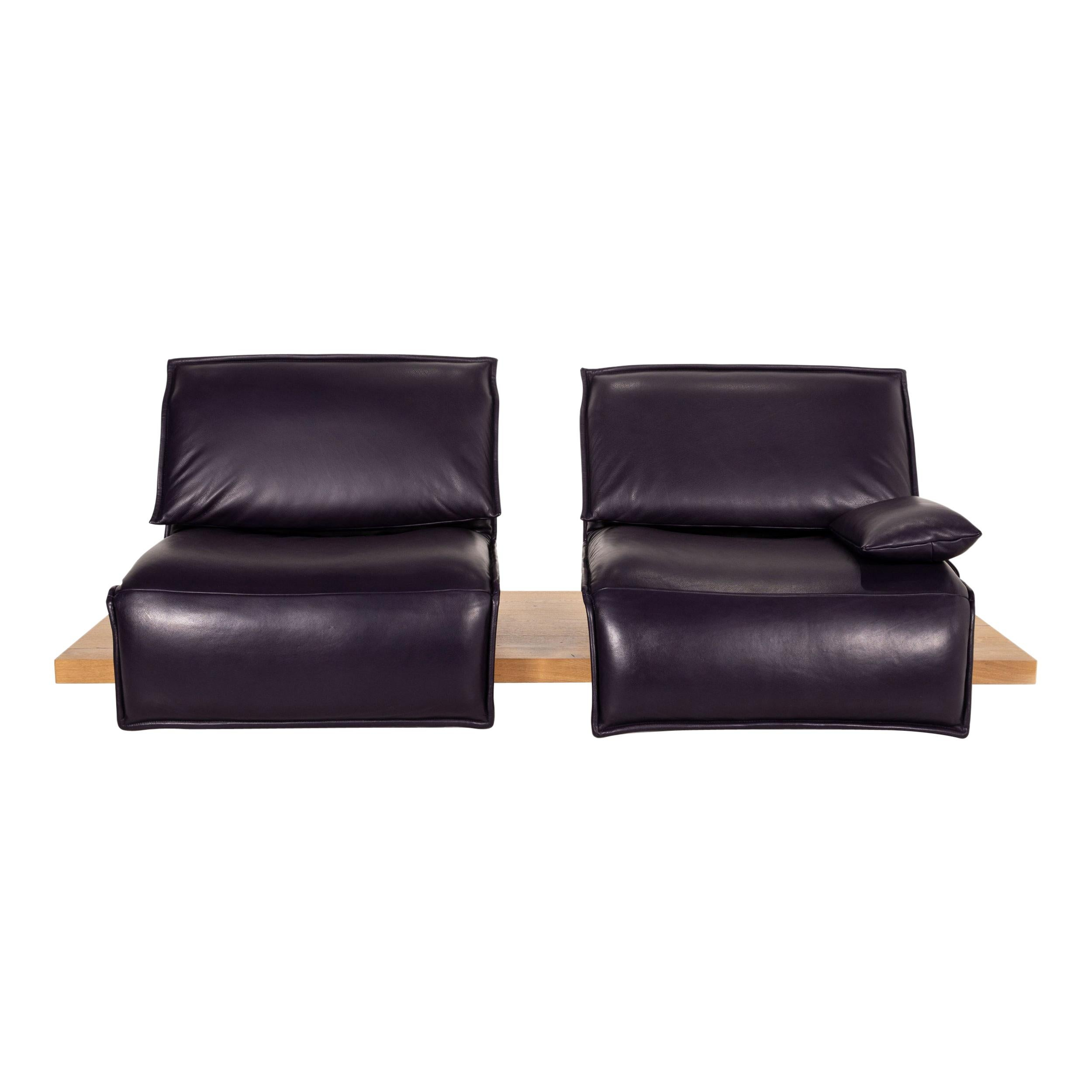 Koinor Free Motion Edit 2 Leather Sofa Purple Two Seater Electric Function Couch