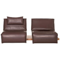Koinor Free Motion Edit Leather Sofa Dark Brown Two-Seat Incl. Electr. Relax