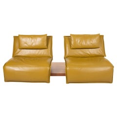 Koinor Free Motion Edit Leather Sofa Green Two Seater Yellow Wood Couch with