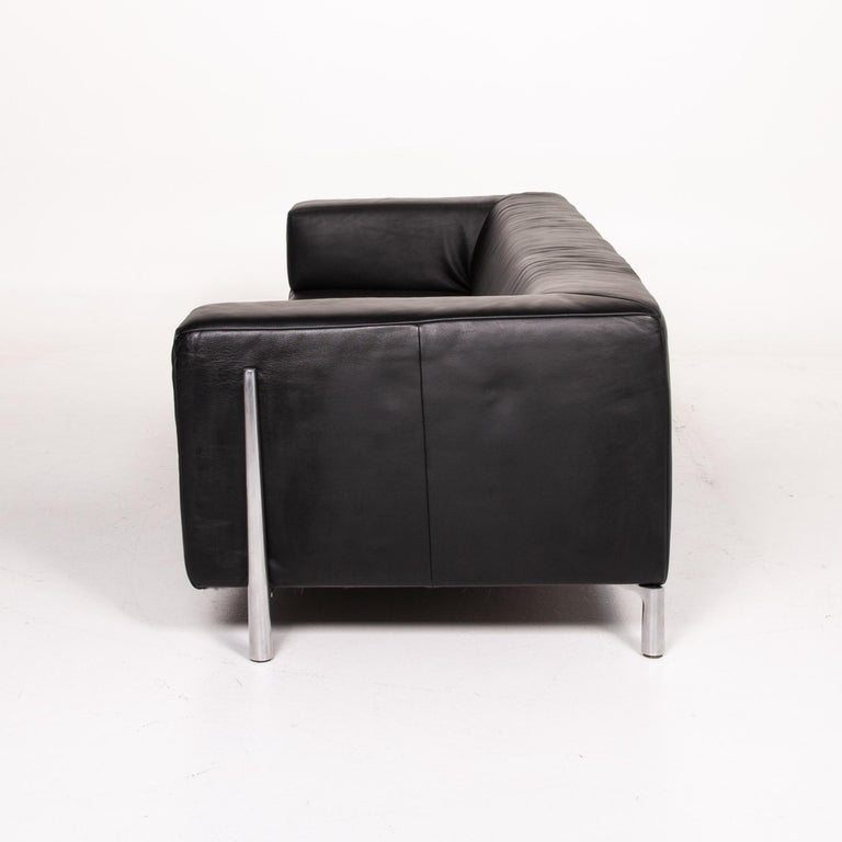 Koinor Genesis Leather Sofa Black Four-Seat Couch 4