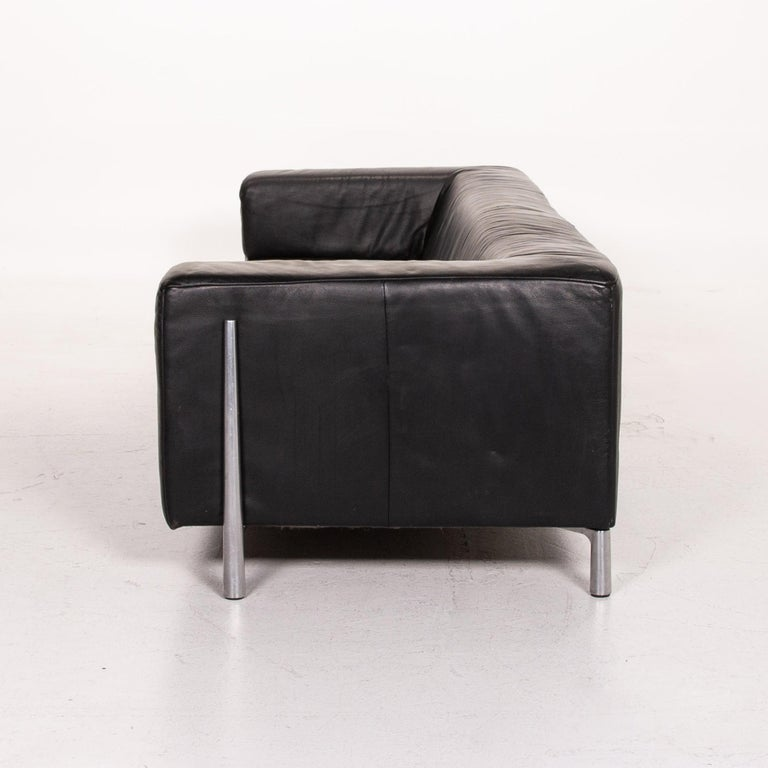 Koinor Genesis Leather Sofa Black Four-Seat Couch For Sale 4